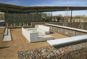 "George ""Doc"" Cavalliere Park in Scottsdale, AZ, showcases a unique use of Express Brown dolomite — supplied by Granite Express, LLC of Mesa, AZ. The native stone fits into the desert landscape as well as contributing to the park's overall sustainable design. ""The product's material palette is very simple — consisting almost entirely of natural stone, concrete and steel,"" said Christopher Brown, FASLA, LEED BD+C of Floor Associates, Inc. ""This simple palette complements the modern aesthetic of the design and blends into the site's subtle desert environs."" Photo Credit: Chris Brown, FASLA"