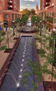 """In addition to the sandstone used to recreate City Creek, the project makes extensive use of granite for paving as well as seven different """"fountain experiences."""" Photo Credit: Martin van Hemert"""