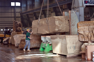 Delta Stone Products utilized 12-foot blades on each of its two saws to cut away the backs of the boulders, allowing for the attachment system while also creating a lighter weight stone. Photo Credit: Tom Fox, SWA