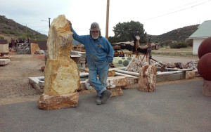 "Slabs and boulders of onyx from the Mayer quarry. ""We never stop moving,"" said Pete. ""I'll look at a rock and see a table. I'll even keep the ends and make abstracts. Nothing gets wasted."""