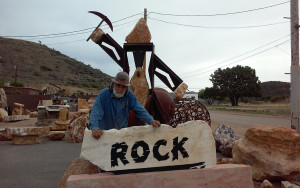 "Located along Highway 89 in Yarnell, Arizona, Pete the Miner's stone yard is an ocean of locally quarried onyx and black marble. ""You can't be running all around thinking you're the best thing in the world because you're selling rock. Because you know what? It's not easy turning rock into hamburger, but that's what stone artists do. You get to eat, making money, doing stone. Once again... you're just selling rock. Think about it!"" —Pete the Miner"