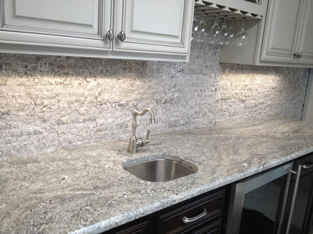 Stone Counter + Backsplash Recycled Granite   Use Natural Stone .